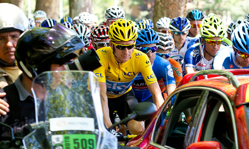 Bradley Wiggins in yellow at Tour de France
