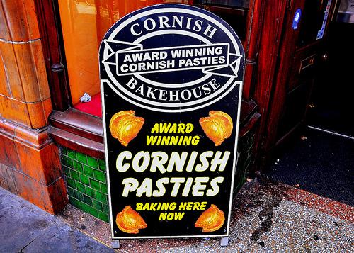 Cornish pasties advertised outside pub