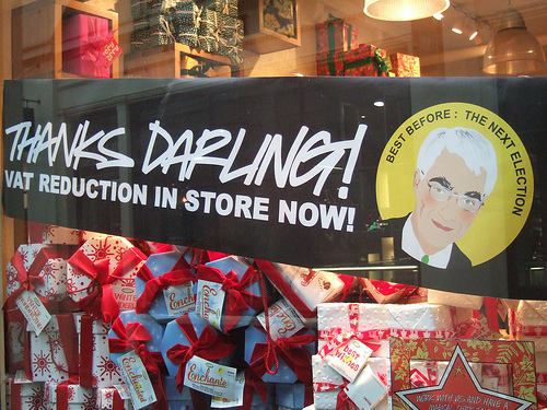 Sign outside thanking Alistair Darling for VAT reduction