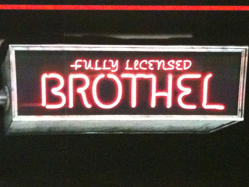 Sign for brothel