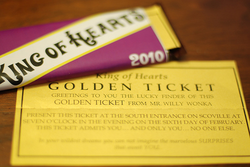 Golden Ticket and chocolate bar