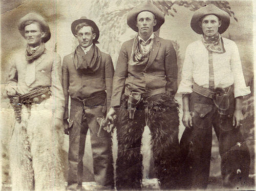 Cowboys in black and white picture