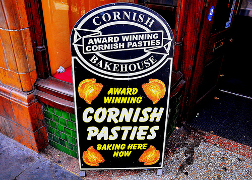Cornish pasties advertised outside pub