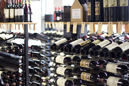 Racks of wine in shop